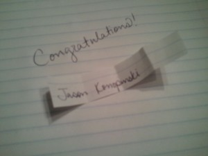 The winner is Jason Konopinski.